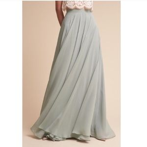 BHLDN Jenny Yoo Hampton maxi skirt in Morning Mist